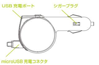 USB充電ポート/シガープラグ/microUSBコネクタ