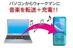 Music is charged transfer + from PC by Walkman!