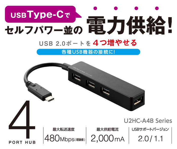 Power supply in USB Type-C at the same level as Self-powered! For connection of various USB models which can gain four USB 2.0 ports!