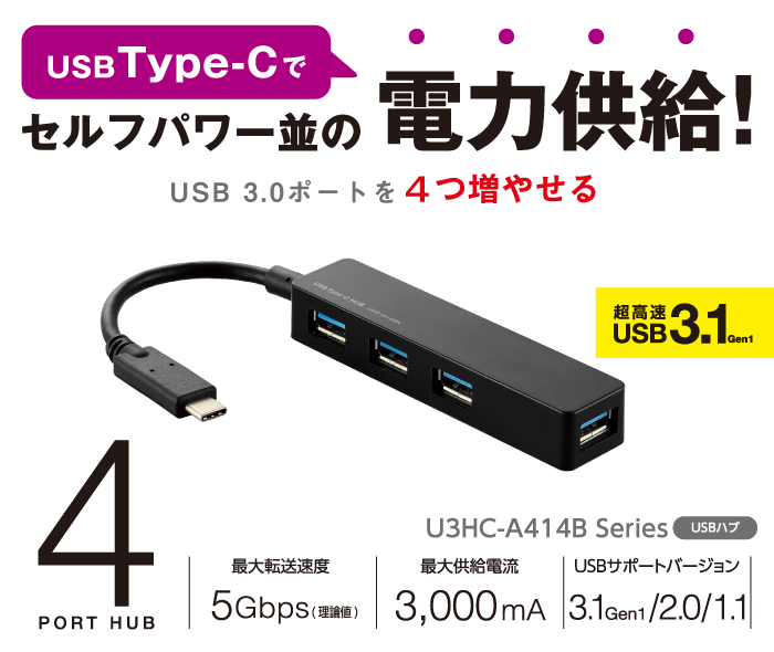 Power supply in USB Type-C at the same level as Self-powered! We can increase four USB 3.0 ports