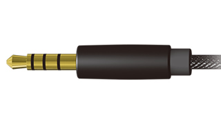 It carries dia.3.5mm 4-conductor mini-plug