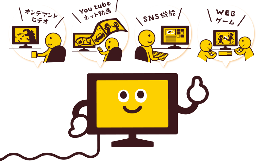 On-demand video, Youtube net video, SNS function, WEB game
