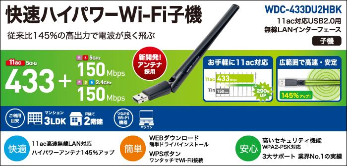 High speed high power Wi-Fi cordless handset WDC-433DU2HBK