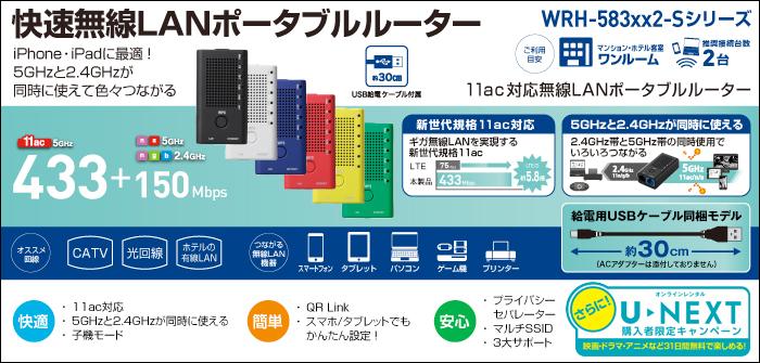 High speed wireless LAN Portable router WRH-583BK2-S