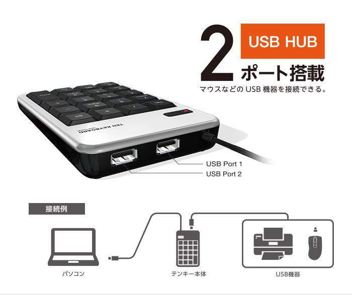 2 được trang bị chức năng hub USB 2.0 của cổng là một bàn phím số có thể kết nối các thiết bị USB như một con chuột đến hai.